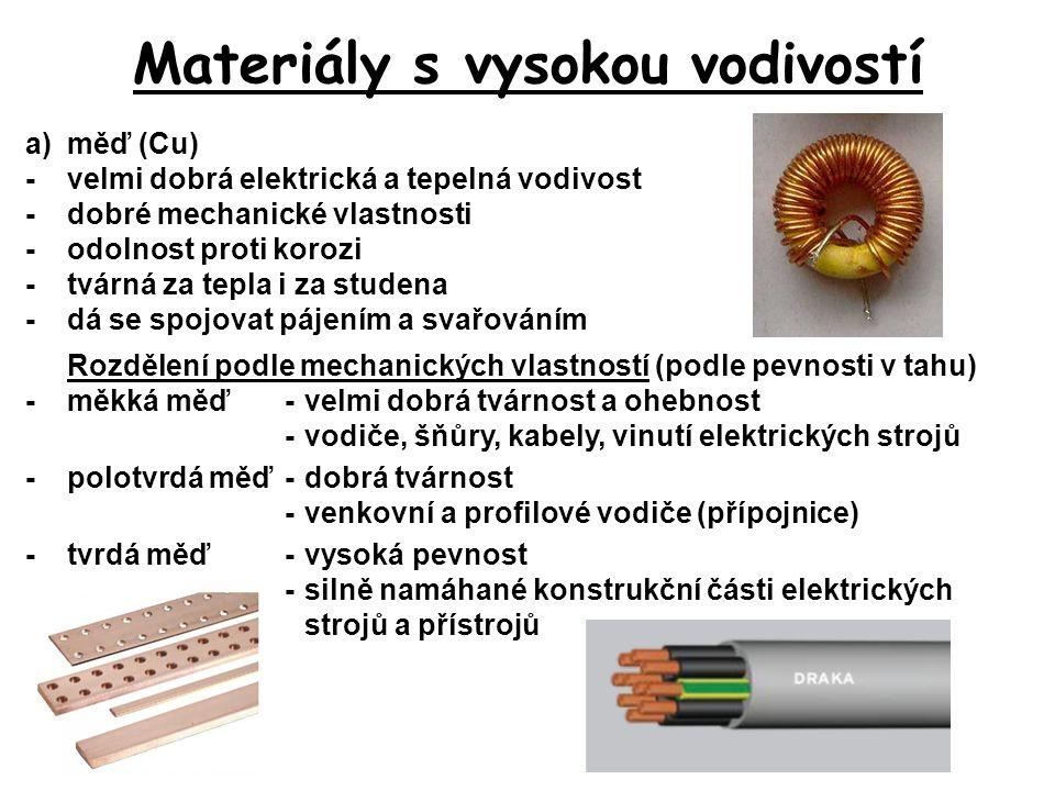 Materiály s vysokou vodivostí a)měď (Cu) -velmi dobrá elektrická a tepelná vodivost -dobré mechanické vlastnosti -odolnost proti korozi -tvárná za tep