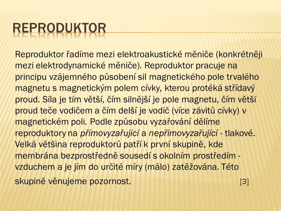 Reproduktor řadíme mezi elektroakustické měniče (konkrétněji mezi elektrodynamické měniče).
