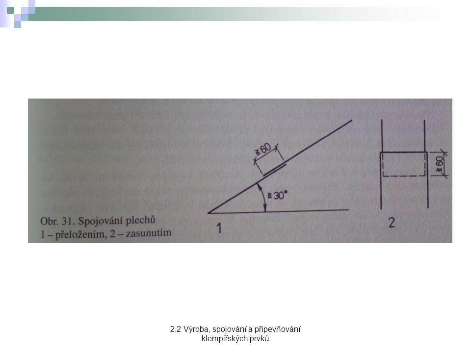 2.2 Výroba, spojování a připevňování klempířských prvků