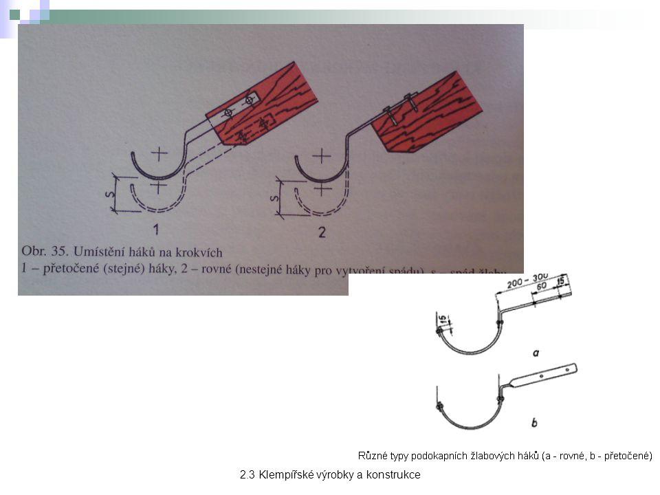 Střešní žlaby → slouží k zachycení a odvádění srážkové vody ze střechy.