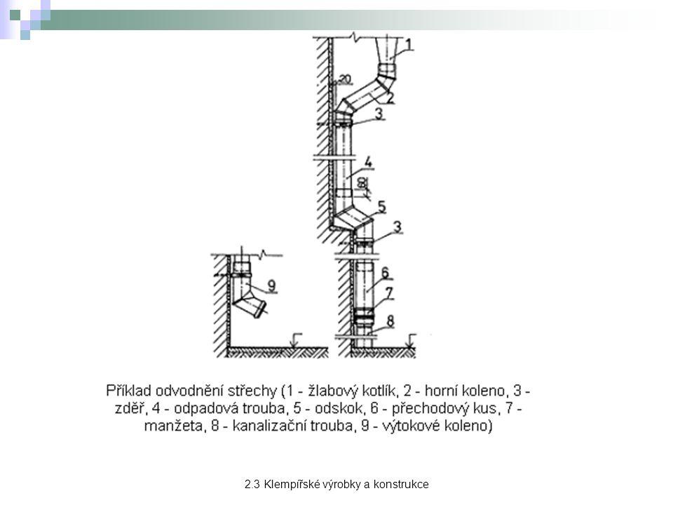 Oplechování → na přední straně se zpravidla ukončuje okapnicí a na zadní straně úpravou pro napojení na související konstrukci.