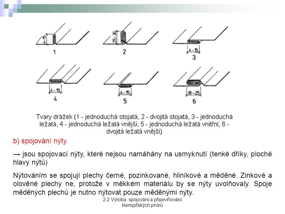 2.2 Výroba, spojování a připevňování klempířských prvků b) spojování nýty → jsou spojovací nýty, které nejsou namáhány na usmyknutí (tenké dříky, ploché hlavy nýtů) Nýtováním se spojují plechy černé, pozinkované, hliníkové a měděné.