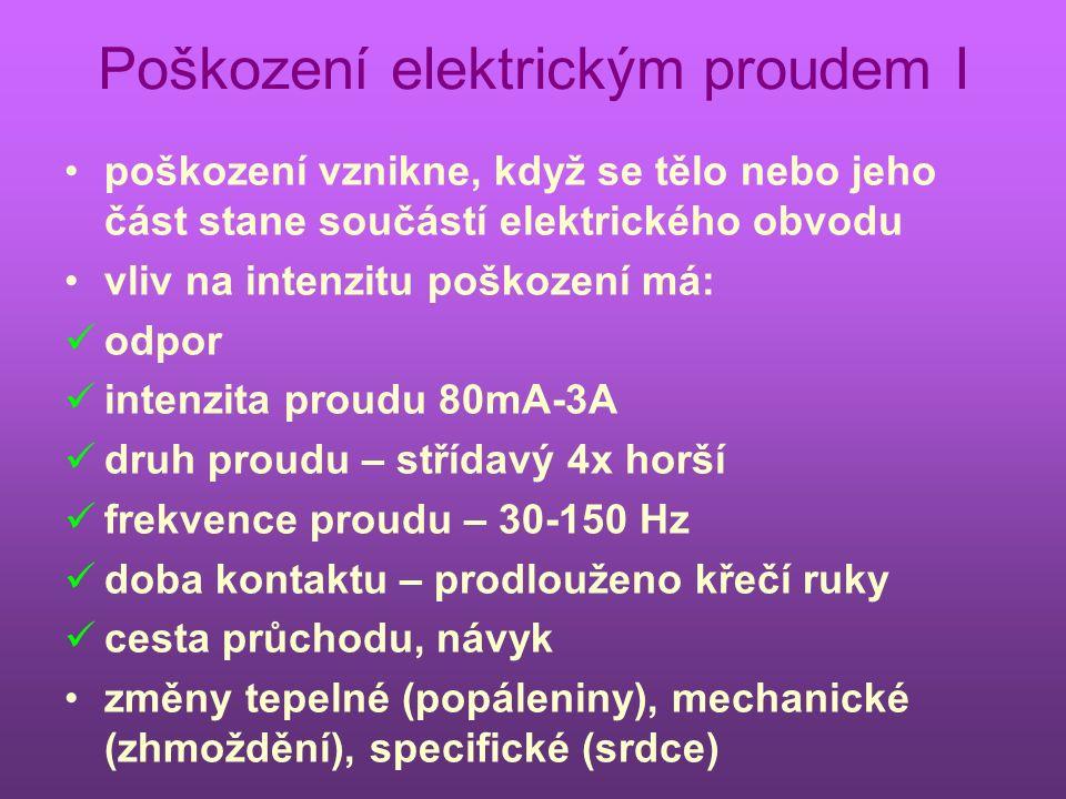 Poškození elektrickým proudem I poškození vznikne, když se tělo nebo jeho část stane součástí elektrického obvodu vliv na intenzitu poškození má: odpor intenzita proudu 80mA-3A druh proudu – střídavý 4x horší frekvence proudu – 30-150 Hz doba kontaktu – prodlouženo křečí ruky cesta průchodu, návyk změny tepelné (popáleniny), mechanické (zhmoždění), specifické (srdce)