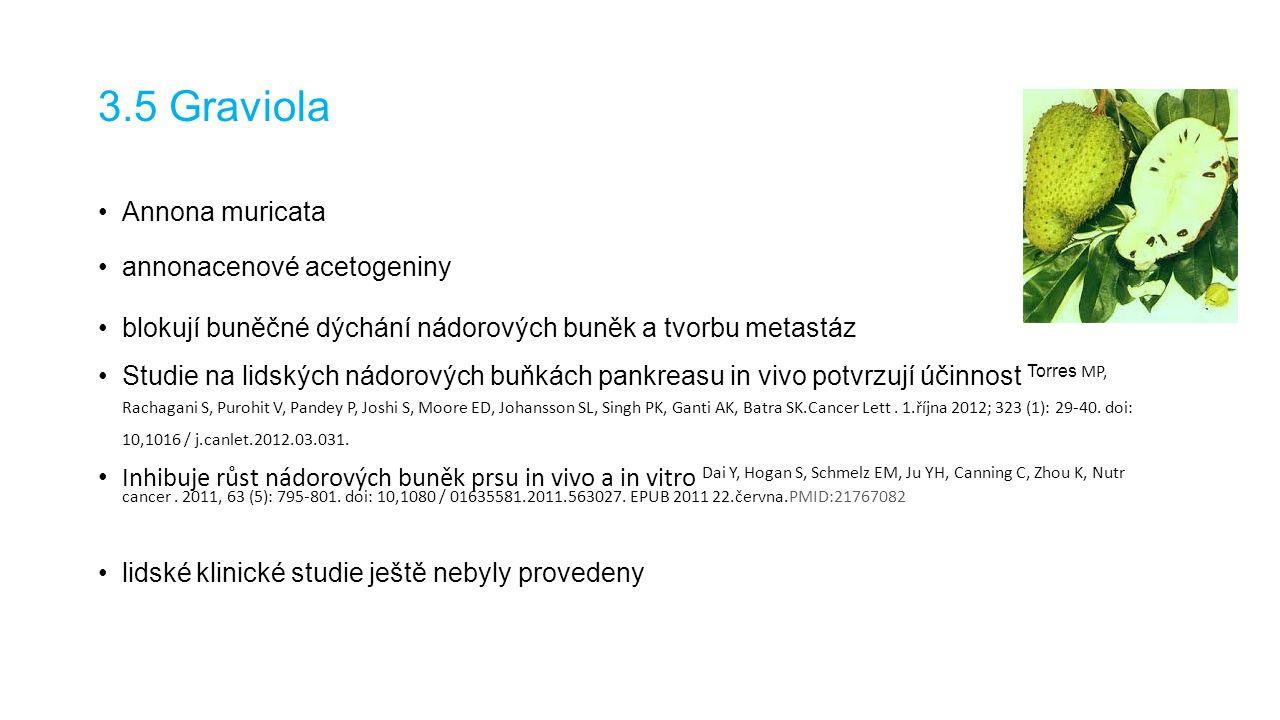 3.5 Graviola Annona muricata annonacenové acetogeniny blokují buněčné dýchání nádorových buněk a tvorbu metastáz Studie na lidských nádorových buňkách pankreasu in vivo potvrzují účinnost Torres MP, Rachagani S, Purohit V, Pandey P, Joshi S, Moore ED, Johansson SL, Singh PK, Ganti AK, Batra SK.Cancer Lett.