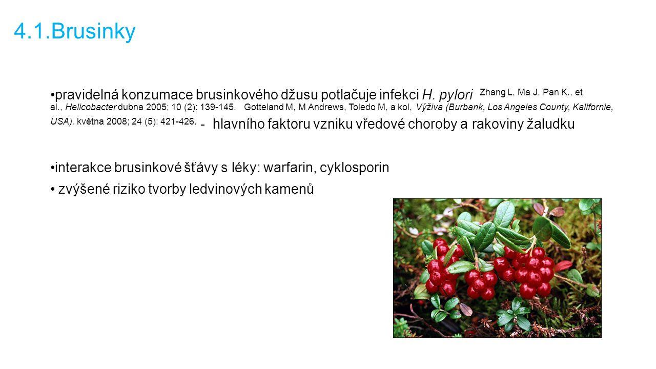 4.1.Brusinky pravidelná konzumace brusinkového džusu potlačuje infekci H.