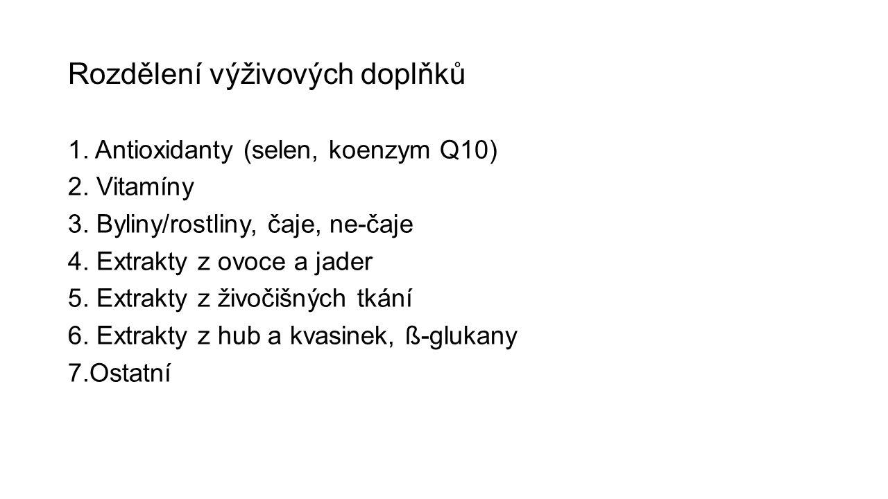 Rozdělení výživových doplňků 1. Antioxidanty (selen, koenzym Q10) 2.
