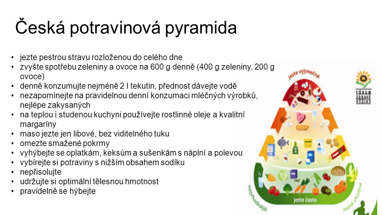 Česká potravinová pyramida jezte pestrou stravu rozloženou do celého dne zvyšte spotřebu zeleniny a ovoce na 600 g denně (400 g zeleniny, 200 g ovoce) denně konzumujte nejméně 2 l tekutin, přednost dávejte vodě nezapomínejte na pravidelnou denní konzumaci mléčných výrobků, nejlépe zakysaných na teplou i studenou kuchyni používejte rostlinné oleje a kvalitní margaríny maso jezte jen libové, bez viditelného tuku omezte smažené pokrmy vyhýbejte se oplatkám, keksům a sušenkám s náplní a polevou vybírejte si potraviny s nižším obsahem sodíku nepřisolujte udržujte si optimální tělesnou hmotnost pravidelně se hýbejte