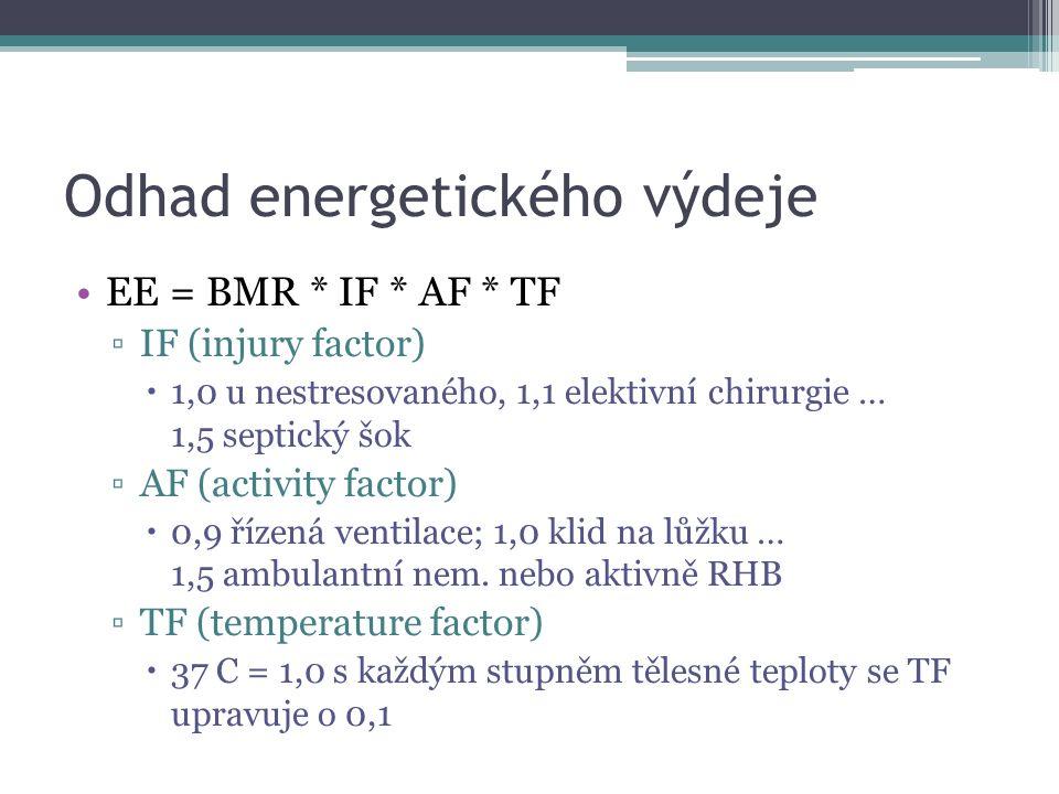 Odhad energetického výdeje EE = BMR * IF * AF * TF ▫IF (injury factor)  1,0 u nestresovaného, 1,1 elektivní chirurgie … 1,5 septický šok ▫AF (activity factor)  0,9 řízená ventilace; 1,0 klid na lůžku … 1,5 ambulantní nem.