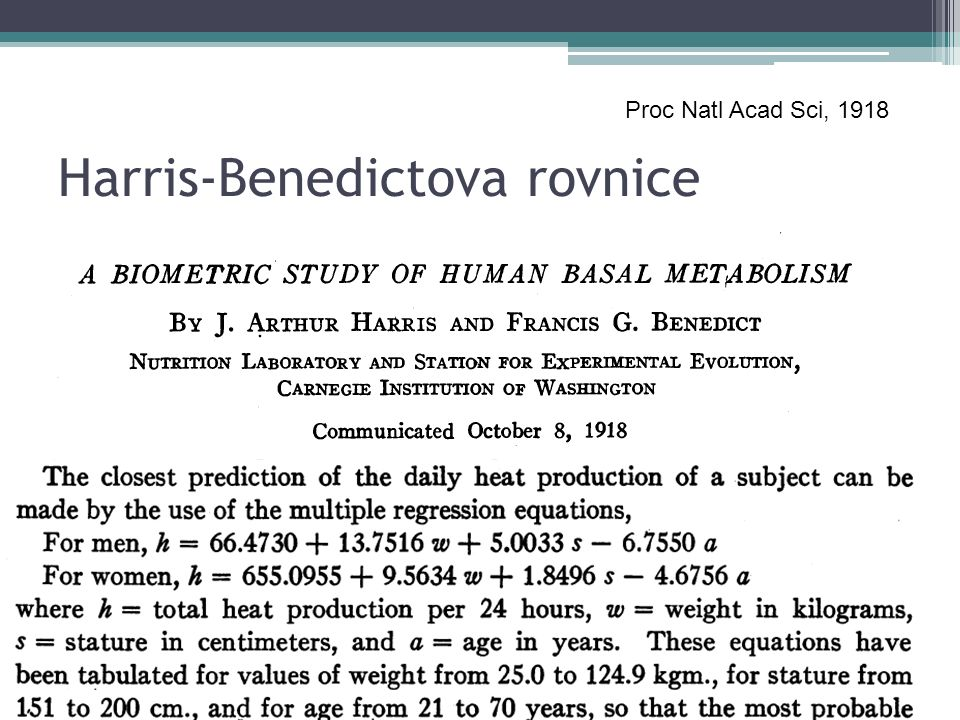 Harris-Benedictova rovnice Proc Natl Acad Sci, 1918