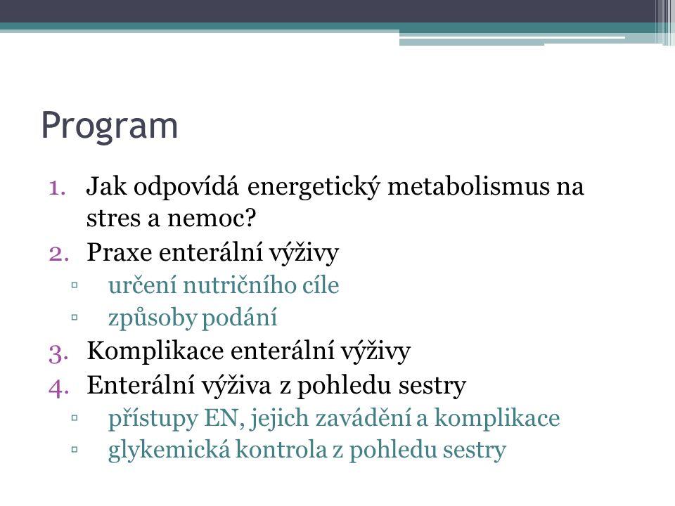 Program 1.Jak odpovídá energetický metabolismus na stres a nemoc.