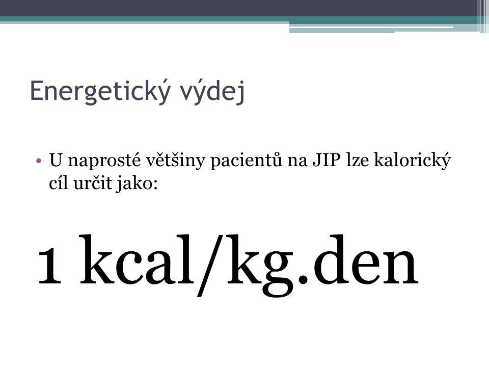 Energetický výdej U naprosté většiny pacientů na JIP lze kalorický cíl určit jako: 1 kcal/kg.den