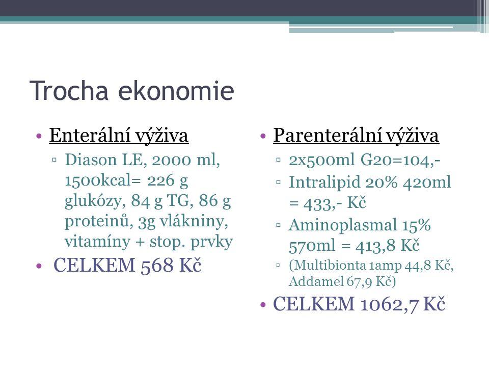 Trocha ekonomie Enterální výživa ▫Diason LE, 2000 ml, 1500kcal= 226 g glukózy, 84 g TG, 86 g proteinů, 3g vlákniny, vitamíny + stop.