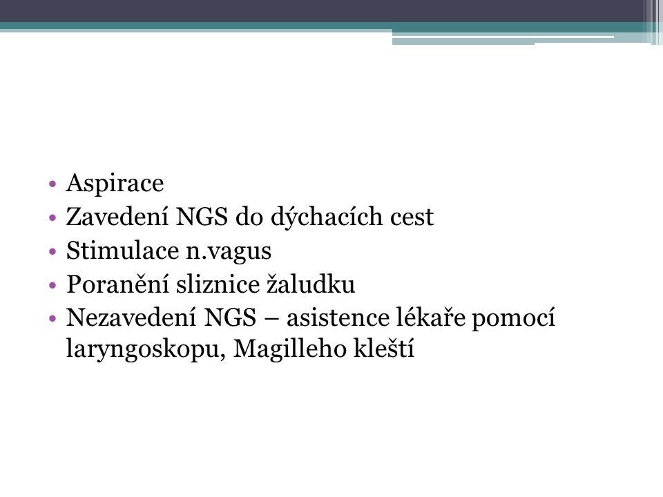 Aspirace Zavedení NGS do dýchacích cest Stimulace n.vagus Poranění sliznice žaludku Nezavedení NGS – asistence lékaře pomocí laryngoskopu, Magilleho kleští