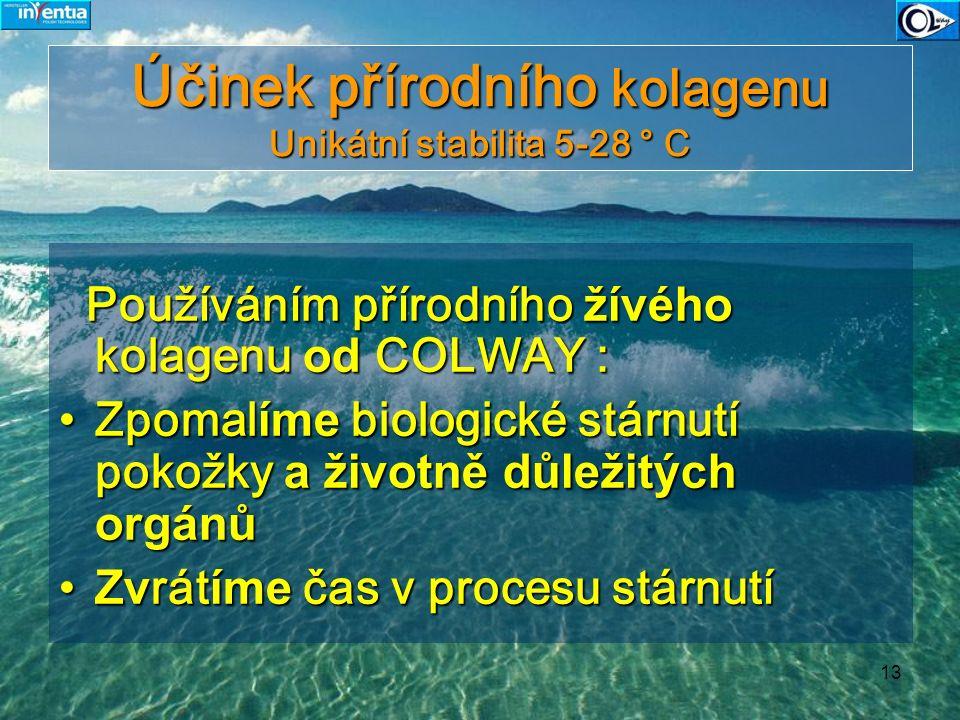 13 Účinek přírodního kolagenu Unikátní stabilita 5-28 ° C Používáním přírodního žívého kolagenu od COLWAY : Používáním přírodního žívého kolagenu od C