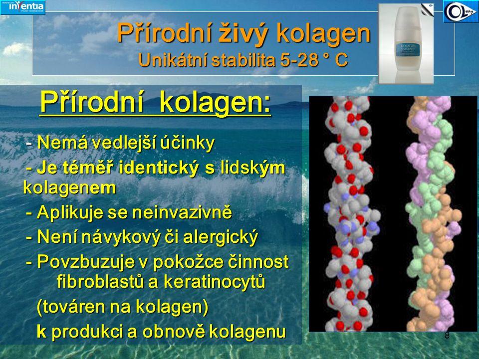 9 Přírodní kolagen Unikátní stabilta 5-28° C Kolagen firmy Inventia je zcela výjimečný - působí přímo proti procesu stárnutí pokožky a jeho následky také odstraňuje.Kolagen firmy Inventia je zcela výjimečný - působí přímo proti procesu stárnutí pokožky a jeho následky také odstraňuje.