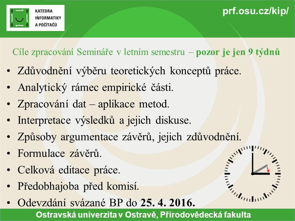 Ostravská univerzita v Ostravě, Přírodovědecká fakulta prf.osu.cz/kip/ Cíle zpracování Semináře v letním semestru – pozor je jen 9 týdnů Zdůvodnění výběru teoretických konceptů práce.