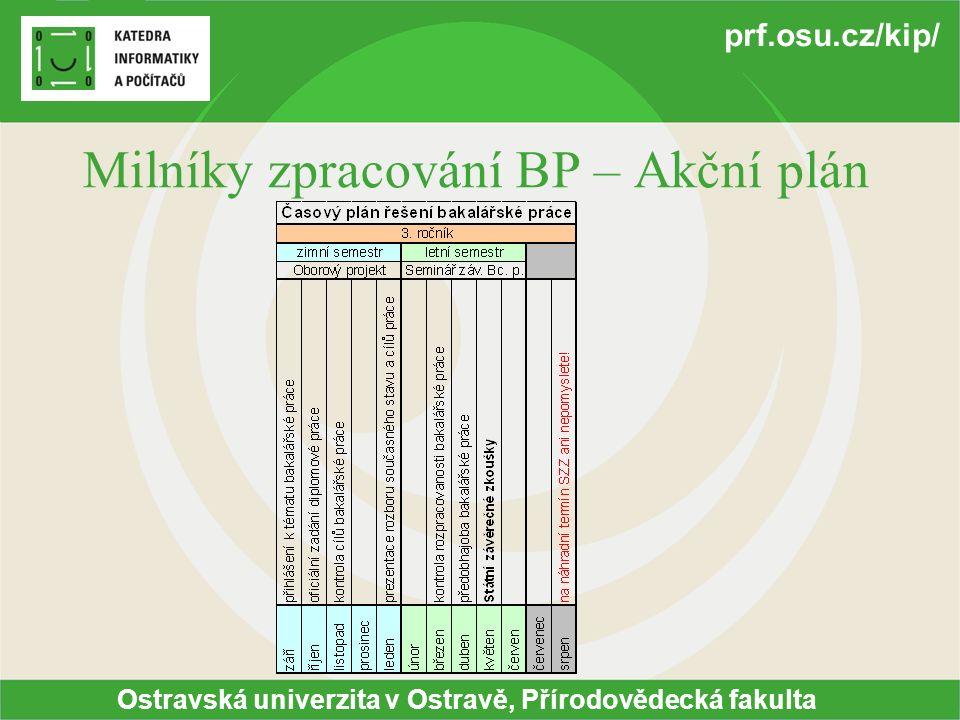 Ostravská univerzita v Ostravě, Přírodovědecká fakulta prf.osu.cz/kip/ Milníky zpracování BP – Akční plán