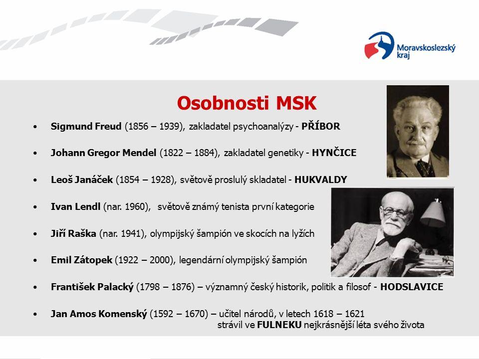 Osobnosti MSK Sigmund Freud (1856 – 1939), zakladatel psychoanalýzy - PŘÍBOR Johann Gregor Mendel (1822 – 1884), zakladatel genetiky - HYNČICE Leoš Janáček (1854 – 1928), světově proslulý skladatel - HUKVALDY Ivan Lendl (nar.