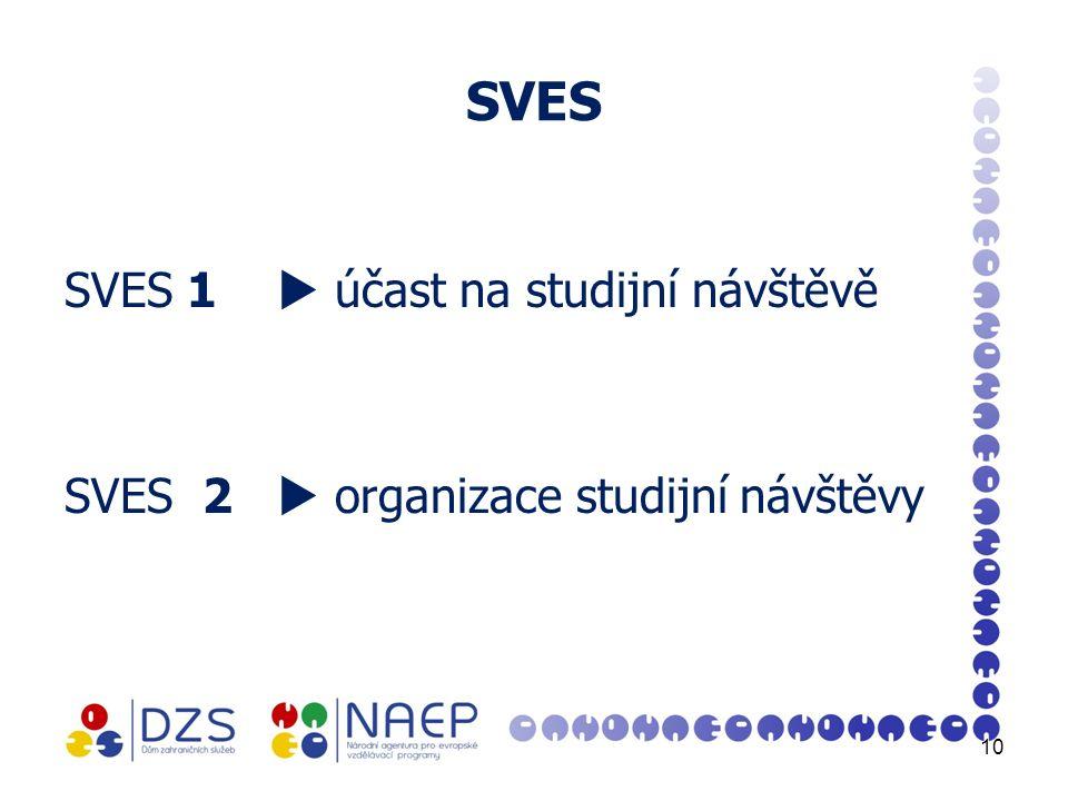 SVES SVES 1  účast na studijní návštěvě SVES 2  organizace studijní návštěvy 10