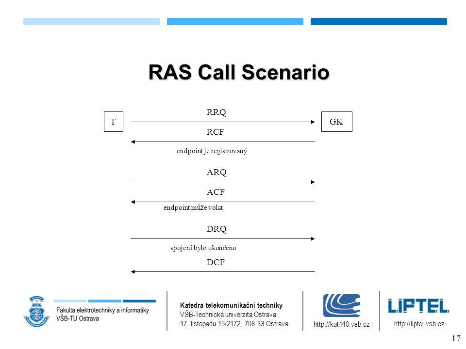 RAS Call Scenario TGK RRQ RCF ARQ endpoint je registrovaný ACF endpoint může volat DRQ DCF spojení bylo ukončeno Katedra telekomunikační techniky VŠB-Technická univerzita Ostrava 17.