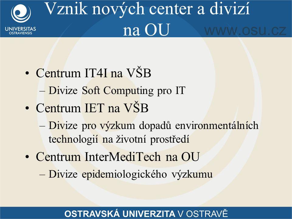 Vznik nových center a divizí na OU Centrum IT4I na VŠB –Divize Soft Computing pro IT Centrum IET na VŠB –Divize pro výzkum dopadů environmentálních technologií na životní prostředí Centrum InterMediTech na OU –Divize epidemiologického výzkumu