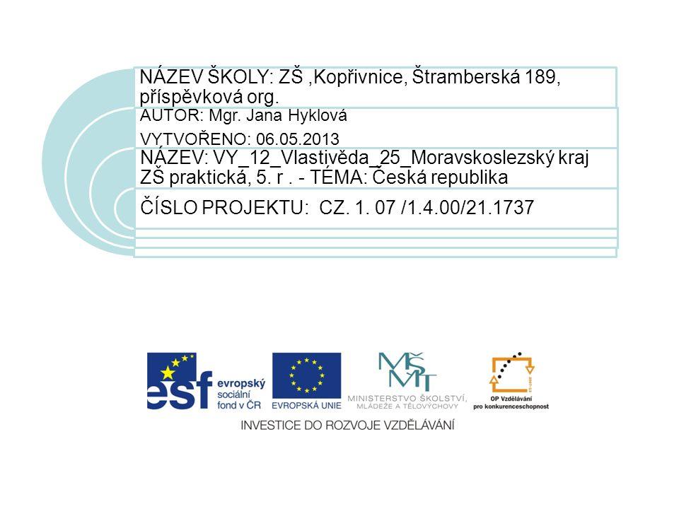 NÁZEV ŠKOLY: ZŠ,Kopřivnice, Štramberská 189, příspěvková org.