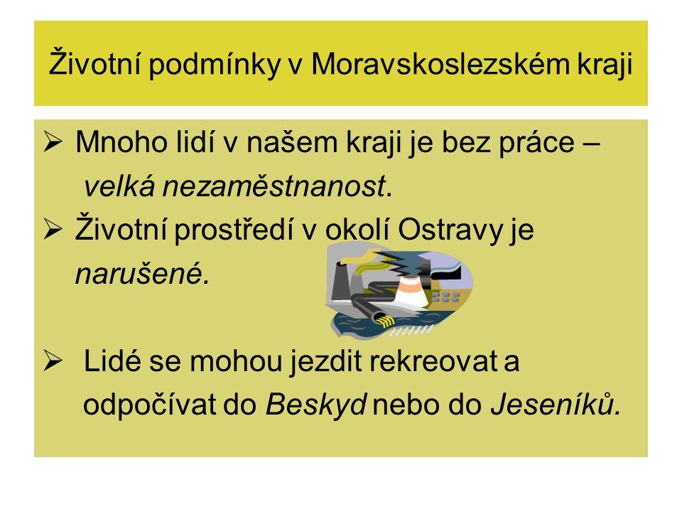 Životní podmínky v Moravskoslezském kraji  Mnoho lidí v našem kraji je bez práce – velká nezaměstnanost.  Životní prostředí v okolí Ostravy je naruš