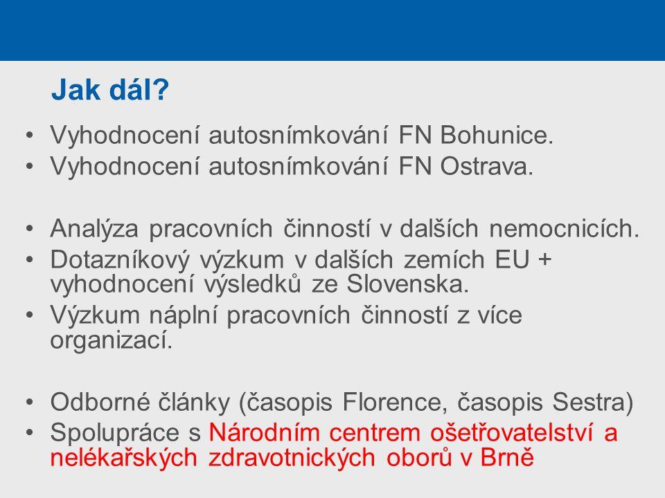 Jak dál? Vyhodnocení autosnímkování FN Bohunice. Vyhodnocení autosnímkování FN Ostrava. Analýza pracovních činností v dalších nemocnicích. Dotazníkový