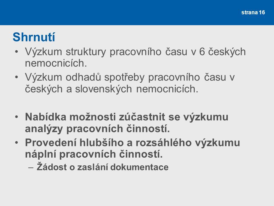 strana 16 Shrnutí Výzkum struktury pracovního času v 6 českých nemocnicích.