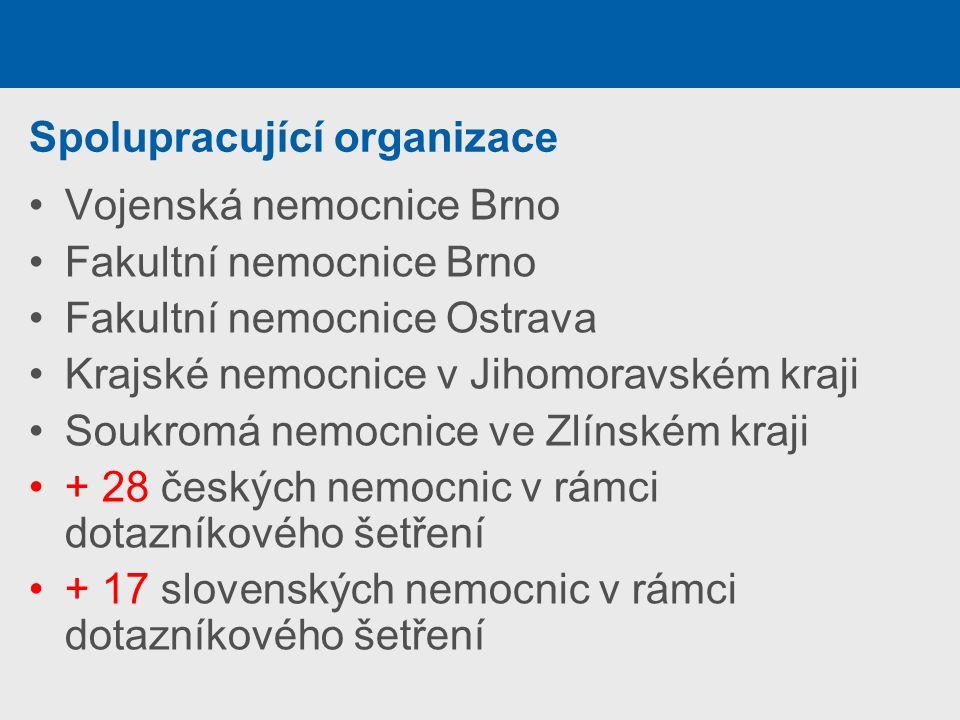 Spolupracující organizace Vojenská nemocnice Brno Fakultní nemocnice Brno Fakultní nemocnice Ostrava Krajské nemocnice v Jihomoravském kraji Soukromá nemocnice ve Zlínském kraji + 28 českých nemocnic v rámci dotazníkového šetření + 17 slovenských nemocnic v rámci dotazníkového šetření