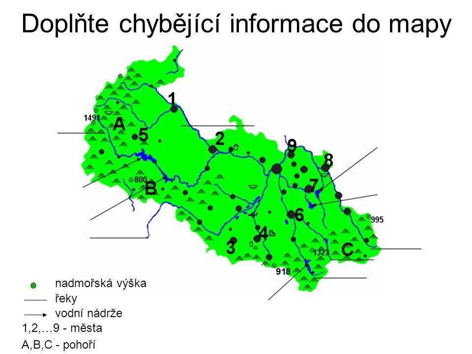 Doplňte chybějící informace do mapy 1,2,…9 - města A,B,C - pohoří vodní nádrže řeky nadmořská výška