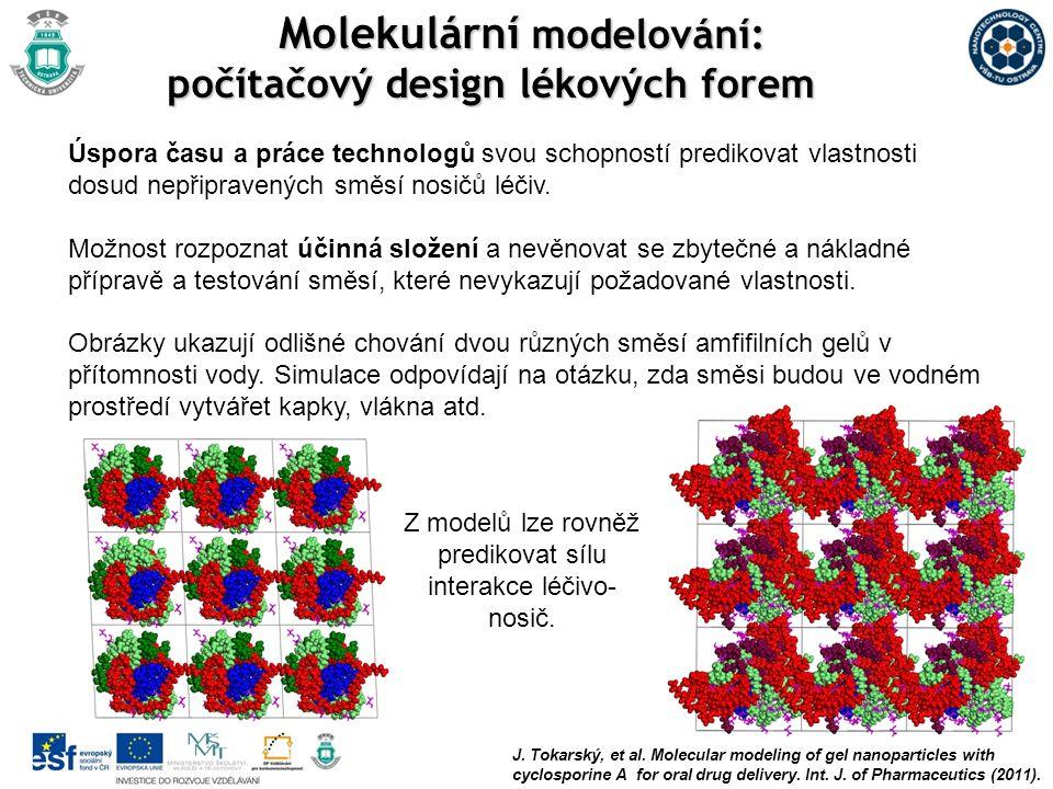 J. Tokarský, et al. Molecular modeling of gel nanoparticles with cyclosporine A for oral drug delivery. Int. J. of Pharmaceutics (2011). Úspora času a