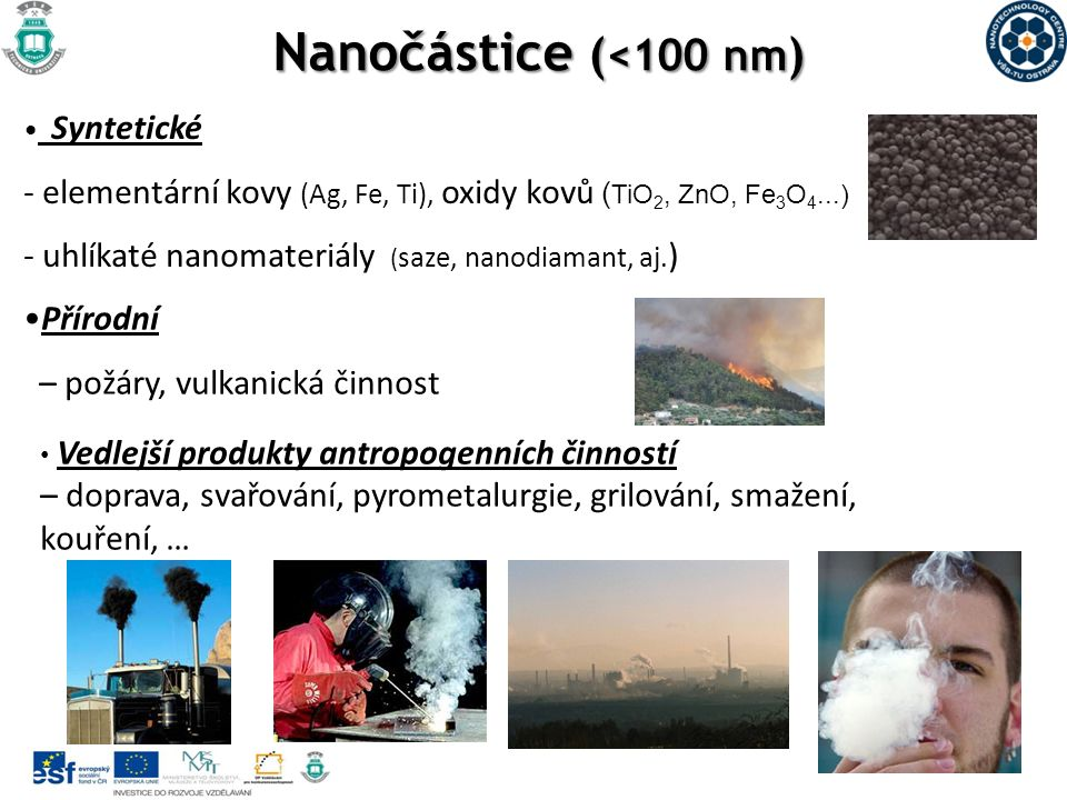Nanočástice ( <100 nm ) Syntetické - elementární kovy (Ag, Fe, Ti), oxidy kovů ( TiO 2, ZnO, Fe 3 O 4...) - uhlíkaté nanomateriály ( saze, nanodiamant