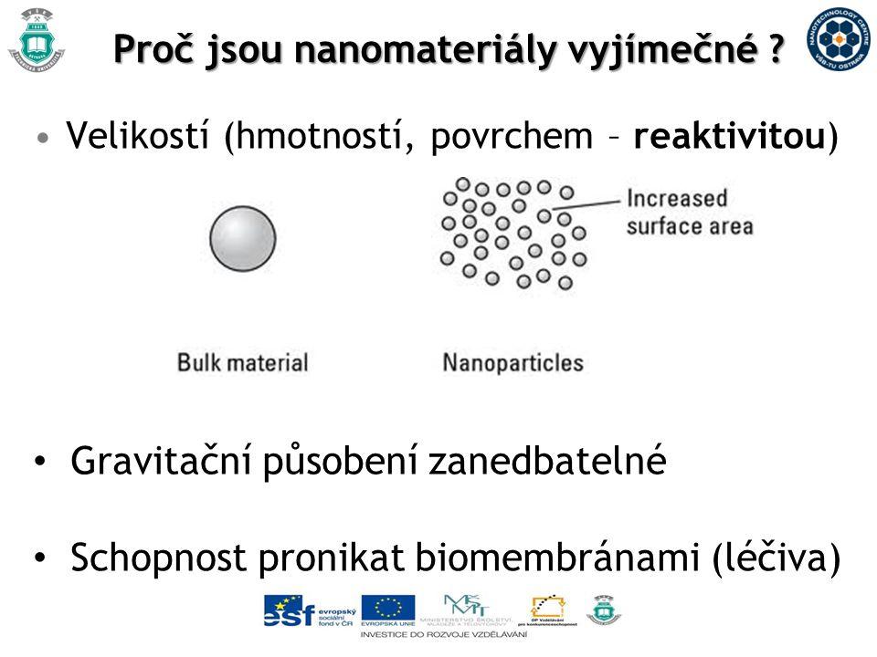 Proč jsou nanomateriály vyjímečné ? Velikostí (hmotností, povrchem – reaktivitou) Gravitační působení zanedbatelné Schopnost pronikat biomembránami (l