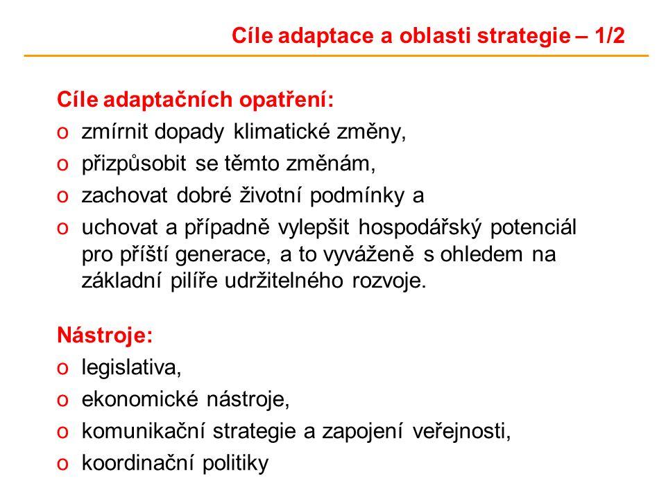 Cíle adaptace a oblasti strategie – 1/2 Cíle adaptačních opatření: ozmírnit dopady klimatické změny, opřizpůsobit se těmto změnám, ozachovat dobré životní podmínky a ouchovat a případně vylepšit hospodářský potenciál pro příští generace, a to vyváženě s ohledem na základní pilíře udržitelného rozvoje.