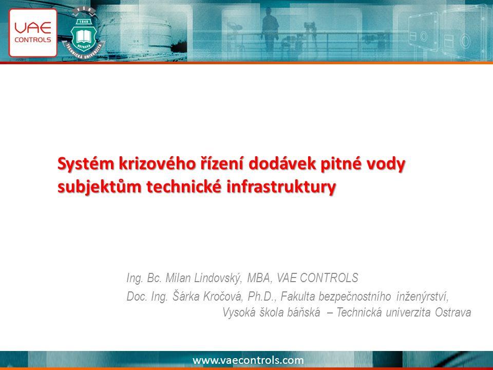 www.vaecontrols.com Systém krizového řízení dodávek pitné vody subjektům technické infrastruktury Ing.