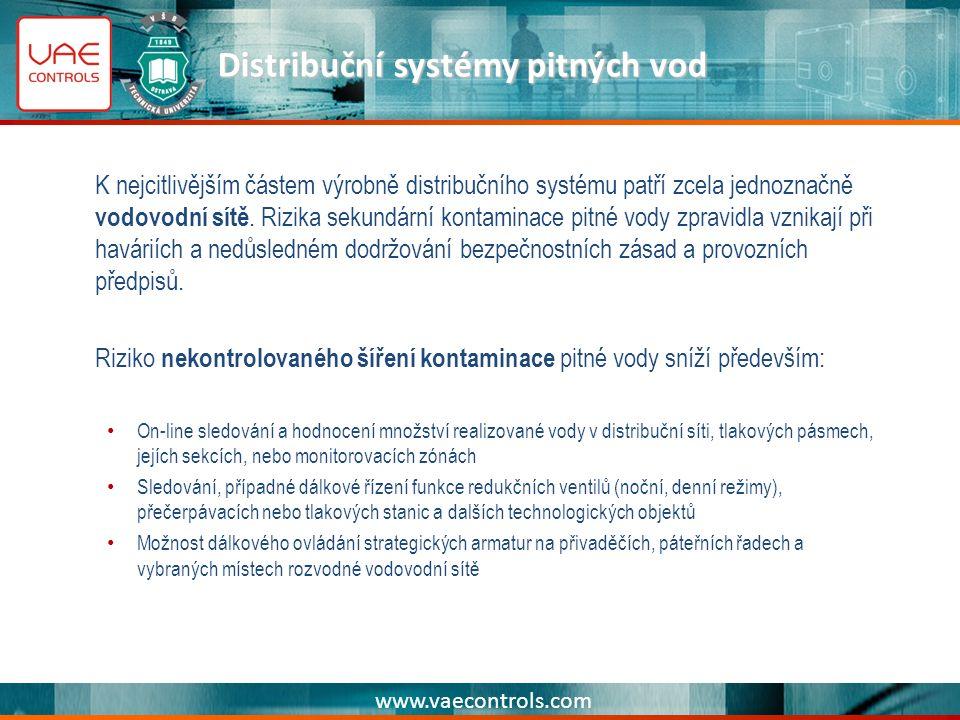 www.vaecontrols.com Distribuční systémy pitných vod K nejcitlivějším částem výrobně distribučního systému patří zcela jednoznačně vodovodní sítě.