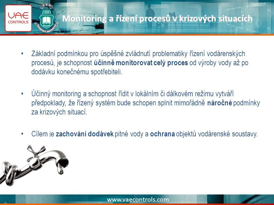 www.vaecontrols.com Monitoring a řízení procesů v krizových situacích Základní podmínkou pro úspěšné zvládnutí problematiky řízení vodárenských procesů, je schopnost účinně monitorovat celý proces od výroby vody až po dodávku konečnému spotřebiteli.