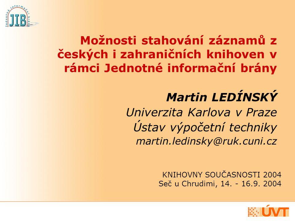 Co nabízíme Službu, která českým knihovnám zdarma umožňuje přebírání bibliografických a autoritních záznamů z různorodých informačních zdrojů přímo do prostředí automatizovaného knihovního systému, nezávisle na WWW rozhraní JIB