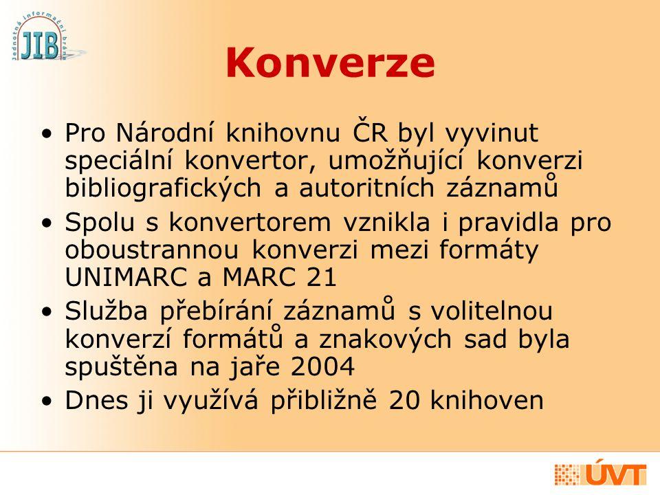 Konverze Pro Národní knihovnu ČR byl vyvinut speciální konvertor, umožňující konverzi bibliografických a autoritních záznamů Spolu s konvertorem vznik