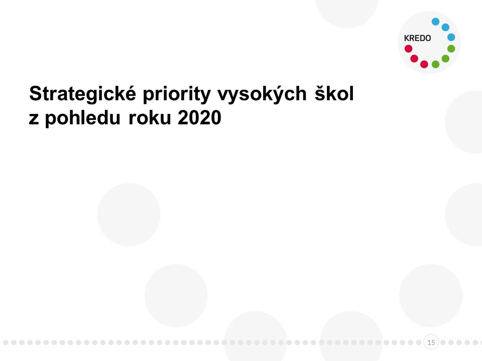 Strategické priority vysokých škol z pohledu roku 2020 15