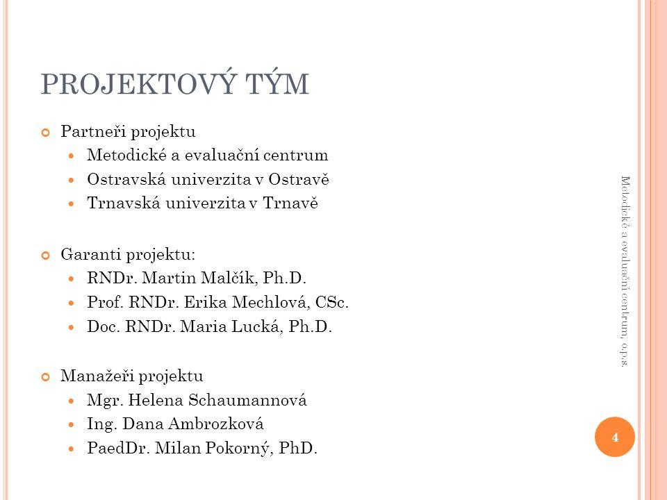 PROJEKTOVÝ TÝM Partneři projektu Metodické a evaluační centrum Ostravská univerzita v Ostravě Trnavská univerzita v Trnavě Garanti projektu: RNDr.