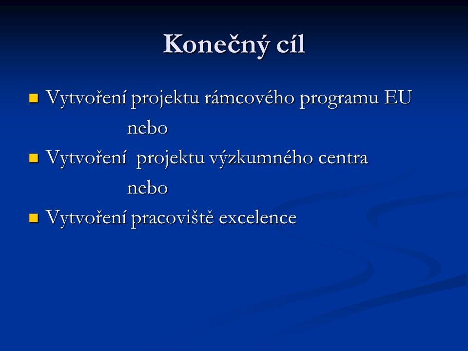 Konečný cíl Vytvoření projektu rámcového programu EU Vytvoření projektu rámcového programu EU nebo nebo Vytvoření projektu výzkumného centra Vytvoření projektu výzkumného centra nebo nebo Vytvoření pracoviště excelence Vytvoření pracoviště excelence