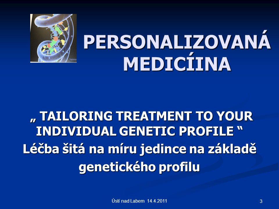 """PERSONALIZOVANÁ MEDICÍINA """" TAILORING TREATMENT TO YOUR INDIVIDUAL GENETIC PROFILE """" TAILORING TREATMENT TO YOUR INDIVIDUAL GENETIC PROFILE Léčba šitá na míru jedince na základě genetického profilu 3 Ústí nad Labem 14.4.2011"""