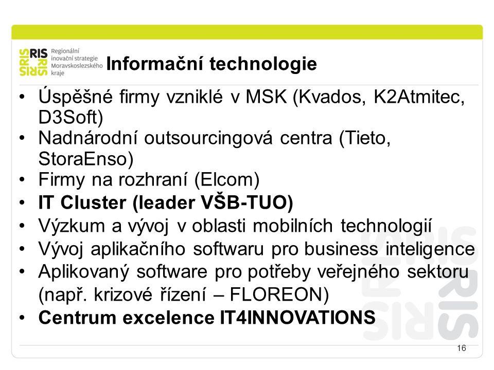 Informační technologie 16 Úspěšné firmy vzniklé v MSK (Kvados, K2Atmitec, D3Soft) Nadnárodní outsourcingová centra (Tieto, StoraEnso) Firmy na rozhraní (Elcom) IT Cluster (leader VŠB-TUO) Výzkum a vývoj v oblasti mobilních technologií Vývoj aplikačního softwaru pro business inteligence Aplikovaný software pro potřeby veřejného sektoru (např.
