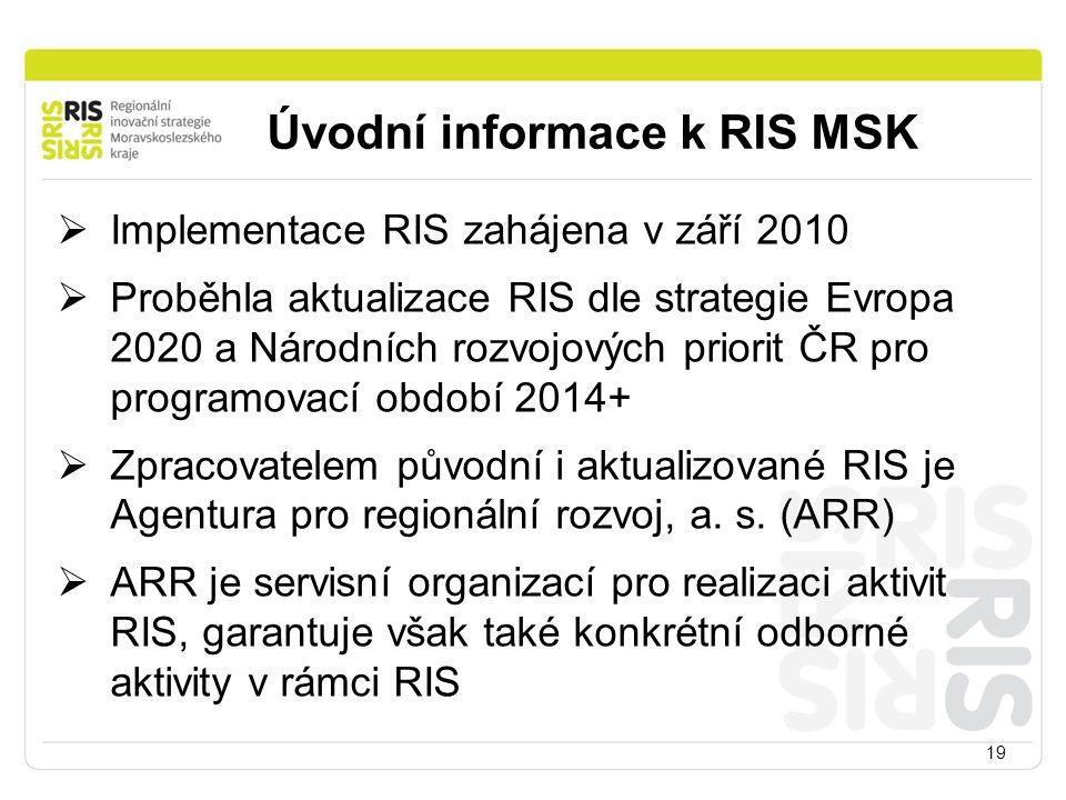 Úvodní informace k RIS MSK 19  Implementace RIS zahájena v září 2010  Proběhla aktualizace RIS dle strategie Evropa 2020 a Národních rozvojových priorit ČR pro programovací období 2014+  Zpracovatelem původní i aktualizované RIS je Agentura pro regionální rozvoj, a.