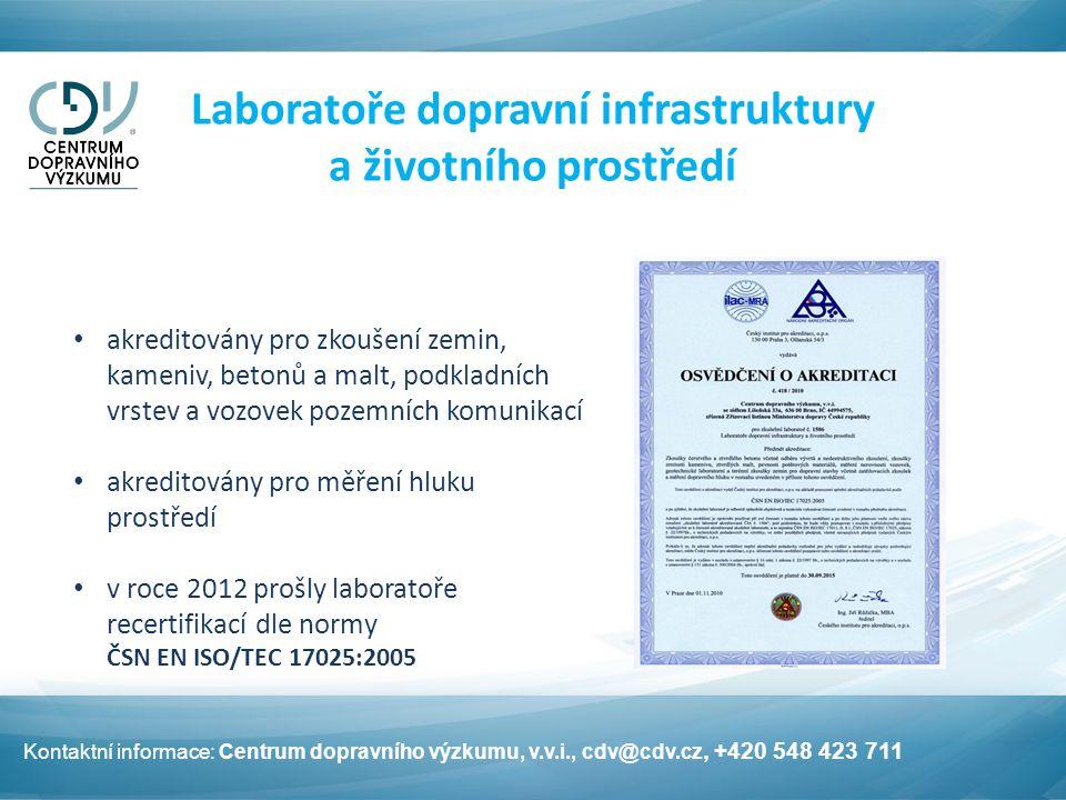 Laboratoře dopravní infrastruktury a životního prostředí akreditovány pro zkoušení zemin, kameniv, betonů a malt, podkladních vrstev a vozovek pozemních komunikací akreditovány pro měření hluku prostředí v roce 2012 prošly laboratoře recertifikací dle normy ČSN EN ISO/TEC 17025:2005 Kontaktní informace: Centrum dopravního výzkumu, v.v.i., cdv@cdv.cz, +420 548 423 711