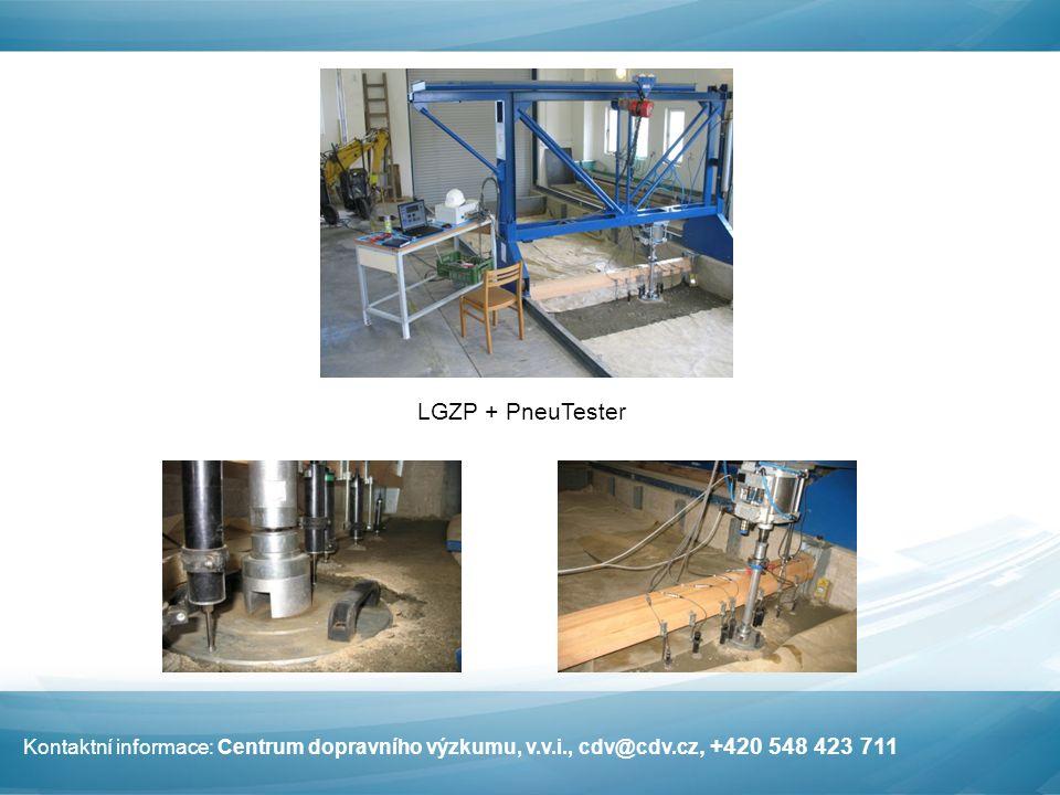 LGZP + PneuTester Kontaktní informace: Centrum dopravního výzkumu, v.v.i., cdv@cdv.cz, +420 548 423 711
