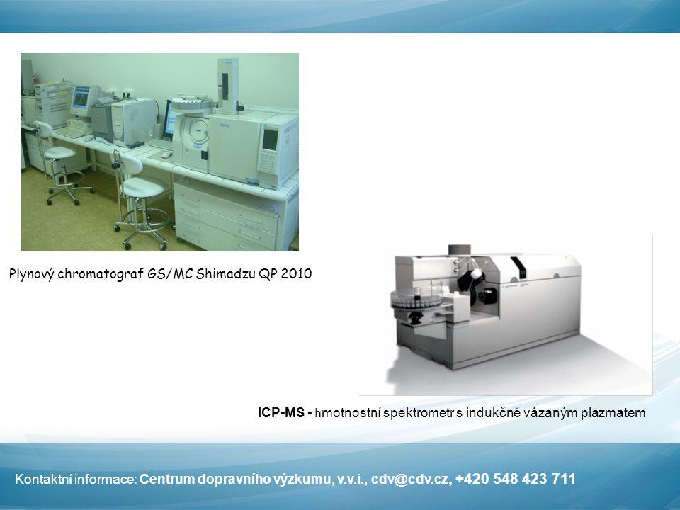 Plynový chromatograf GS/MC Shimadzu QP 2010 ICP-MS - h motnostní spektrometr s indukčně vázaným plazmatem Kontaktní informace: Centrum dopravního výzkumu, v.v.i., cdv@cdv.cz, +420 548 423 711