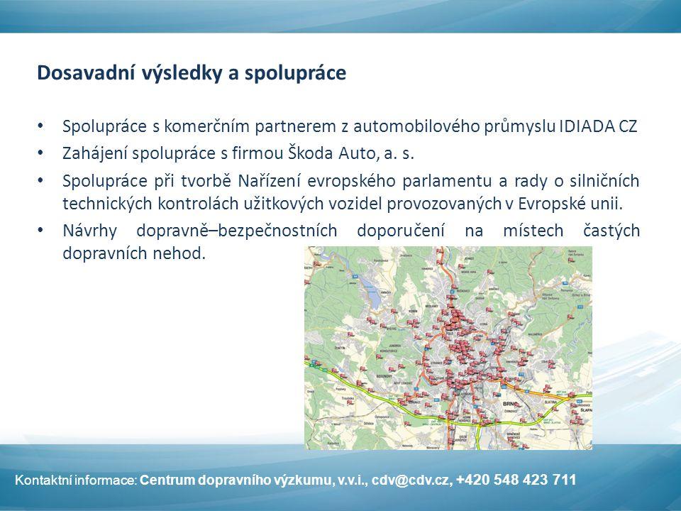 Dosavadní výsledky a spolupráce Spolupráce s komerčním partnerem z automobilového průmyslu IDIADA CZ Zahájení spolupráce s firmou Škoda Auto, a. s. Sp